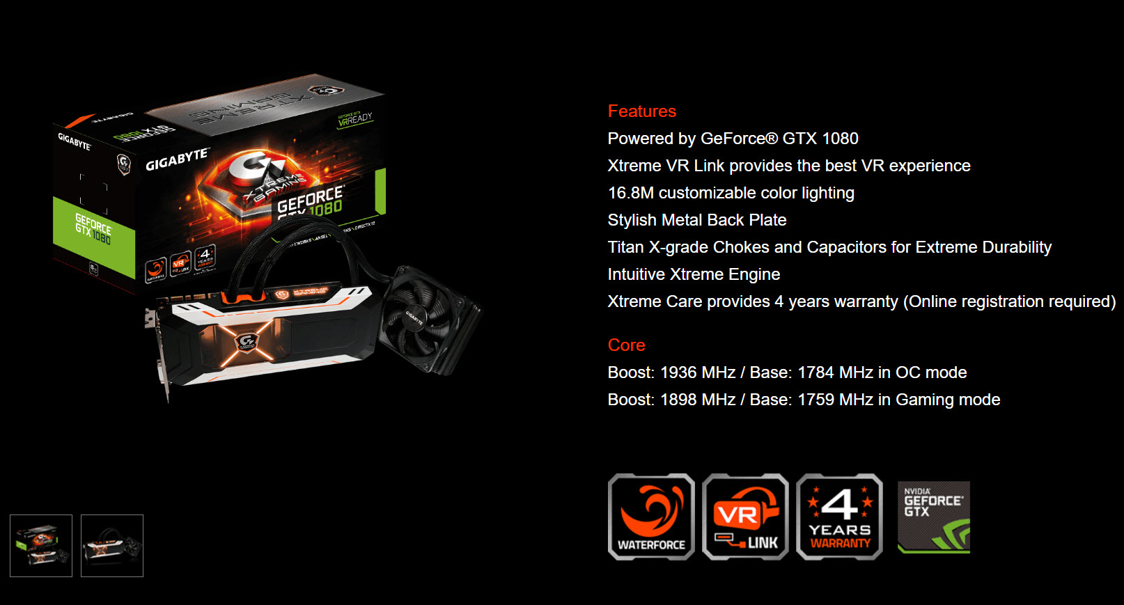 gigabyte geforce gtx 1080 xtreme gaming water cooling 8gb review